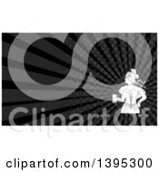 Retro Victorian Beer Maiden Holding A Mug And Black Rays Background Or Business Card Design
