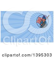 Clipart Of A Sketched American Patriot Carrying A Flag Inside An Oval And Blue Rays Background Or Business Card Design Royalty Free Illustration by patrimonio