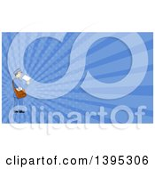 Clipart Of A Retro Cartoon Happy Mail Man Holding An Envelope And Looking Back And Blue Rays Background Or Business Card Design Royalty Free Illustration by patrimonio