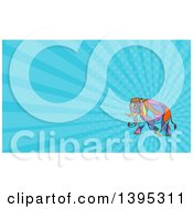 Clipart Of A Colorful Mosaic Walking Elephant And Blue Rays Background Or Business Card Design Royalty Free Illustration