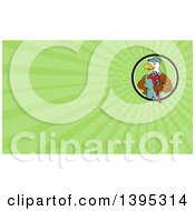 Clipart Of A Cartoon Bald Eagle Plumber Man Holding A Monkey Wrench And Green Rays Background Or Business Card Design Royalty Free Illustration