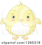 Clipart Of A Cute Baby Yellow Chick With Blushing Cheeks Royalty Free Vector Illustration