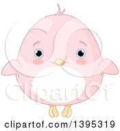 Clipart Of A Cute Baby Pink Chick With Blushing Cheeks Royalty Free Vector Illustration by Pushkin