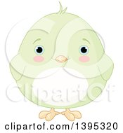 Clipart Of A Cute Baby Green Chick With Blushing Cheeks Royalty Free Vector Illustration by Pushkin