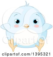 Clipart Of A Cute Baby Blue Chick With Blushing Cheeks Royalty Free Vector Illustration by Pushkin