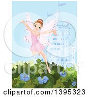 Clipart Of A Happy Brunette White Female Fairy In A Pink Dress Flying Over Vines And Flowers Against A Castle Royalty Free Vector Illustration