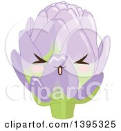 Clipart Of A Cute Artichoke Character With Blushing Cheeks Royalty Free Vector Illustration