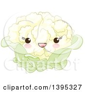 Clipart Of A Cute Cauliflower Character With Blushing Cheeks Royalty Free Vector Illustration