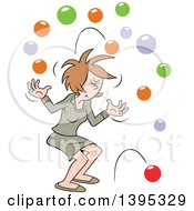 Clipart Of A Cartoon Brunette White Business Woman With Too Many Balls In The Air Royalty Free Vector Illustration