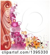Clipart Of A Floral Background With Purple Clover And Lilies Royalty Free Vector Illustration