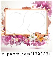 Clipart Of A Floral Background With Purple Clover A Blank Frame And Lilies Royalty Free Vector Illustration