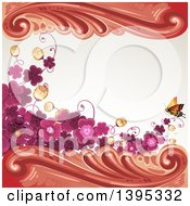 Floral Background With Purple Clover And A Butterfly