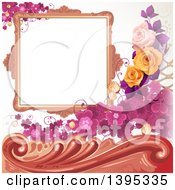 Floral Background With Purple Clover A Blank Frame And Roses
