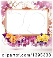 Floral Background With Purple Clover And Roses
