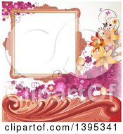 Floral Background With Purple Clover A Blank Frame And Lilies