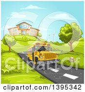 School Bus On A Road With A Building On A Hill In The Background