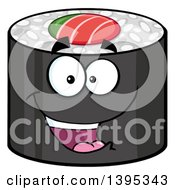 Clipart Of A Cartoon Happy Sushi Roll Character Royalty Free Vector Illustration