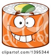 Clipart Of A Cartoon Happy Salmon Sushi Roll Character Royalty Free Vector Illustration by Hit Toon