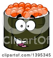 Clipart Of A Cartoon Happy Caviar Sushi Roll Character Royalty Free Vector Illustration