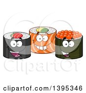 Clipart Of Cartoon Happy Sushi Roll Characters Royalty Free Vector Illustration by Hit Toon