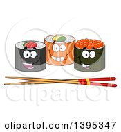 Clipart Of Cartoon Happy Sushi Roll Characters With Chopsticks Royalty Free Vector Illustration by Hit Toon