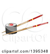 Clipart Of A Cartoon Pair Of Chopsticks Holding A Sushi Roll Royalty Free Vector Illustration by Hit Toon