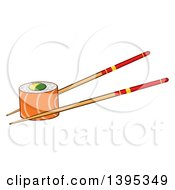Clipart Of A Cartoon Pair Of Chopsticks Holding A Salmon Sushi Roll Royalty Free Vector Illustration by Hit Toon