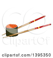 Clipart Of A Cartoon Pair Of Chopsticks Holding A Caviar Sushi Roll Royalty Free Vector Illustration