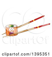 Clipart Of A Cartoon Screaming Salmon Sushi Roll Character On Chopsticks Royalty Free Vector Illustration