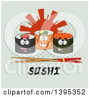 Clipart Of Cartoon Happy Sushi Roll Characters With Chopsticks Over Text And A Sun On Halftone Royalty Free Vector Illustration