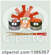 Clipart Of Cartoon Happy Sushi Roll Characters With Chopsticks And A Sun On Halftone Royalty Free Vector Illustration by Hit Toon