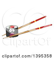 Clipart Of A Cartoon Pair Of Chopsticks Holding A Screaming Sushi Roll Character Royalty Free Vector Illustration by Hit Toon