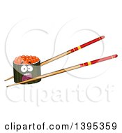 Clipart Of A Cartoon Pair Of Chopsticks Holding A Screaming Caviar Sushi Roll Character Royalty Free Vector Illustration by Hit Toon