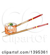 Clipart Of A Cartoon Happy Salmon Sushi Roll Character On Chopsticks Royalty Free Vector Illustration by Hit Toon