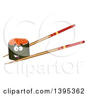 Clipart Of A Cartoon Pair Of Chopsticks Holding A Happy Caviar Sushi Roll Character Royalty Free Vector Illustration by Hit Toon