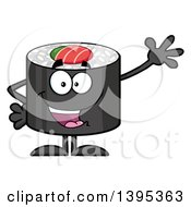 Clipart Of A Cartoon Happy Sushi Roll Character Waving Royalty Free Vector Illustration by Hit Toon