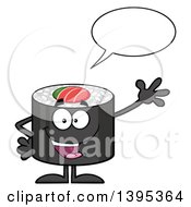 Clipart Of A Cartoon Happy Sushi Roll Character Waving And Talking Royalty Free Vector Illustration by Hit Toon