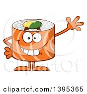 Clipart Of A Cartoon Happy Salmon Sushi Roll Character Waving Royalty Free Vector Illustration by Hit Toon