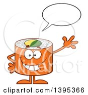 Clipart Of A Cartoon Happy Salmon Sushi Roll Character Waving And Talking Royalty Free Vector Illustration by Hit Toon