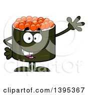 Clipart Of A Cartoon Happy Caviar Sushi Roll Character Waving Royalty Free Vector Illustration by Hit Toon