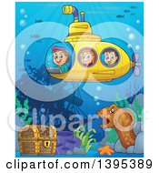 Clipart Of Happy Children In A Submarine Over A Ship Wreck Sunken Treasure And Eel Royalty Free Vector Illustration by visekart