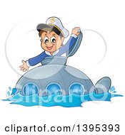 Happy Brunette Caucasian Sailor Boy Looking Out Of A Submarine Hatch
