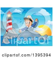 Clipart Of A Happy Brunette Caucasian Sailor Boy Looking Out Of A Submarine Hatch Near A Lighthouse Royalty Free Vector Illustration by visekart