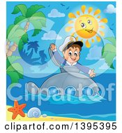 Clipart Of A Happy Brunette Caucasian Sailor Boy Looking Out Of A Submarine Hatch Near A Tropical Island Royalty Free Vector Illustration by visekart