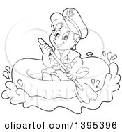 Clipart Of A Black And White Lineart Sailor Boy In A Raft Or Emergency Boat Royalty Free Vector Illustration