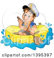 Clipart Of A Happy Brunette Caucasian Sailor Boy In A Raft Or Emergency Boat Royalty Free Vector Illustration