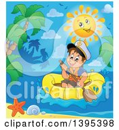 Clipart Of A Happy Sun Over A Brunette Caucasian Sailor Boy In A Raft Or Emergency Boat Near An Island Royalty Free Vector Illustration