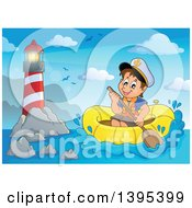 Clipart Of A Happy Brunette Caucasian Sailor Boy In A Raft Or Emergency Boat Near A Lighthouse Royalty Free Vector Illustration