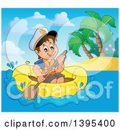 Clipart Of A Happy Brunette Caucasian Sailor Boy In A Raft Or Emergency Boat Near An Island Royalty Free Vector Illustration