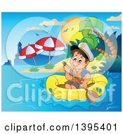Clipart Of A Happy Brunette Caucasian Sailor Boy In A Raft Or Emergency Boat Near An Island With A Lighthouse Royalty Free Vector Illustration